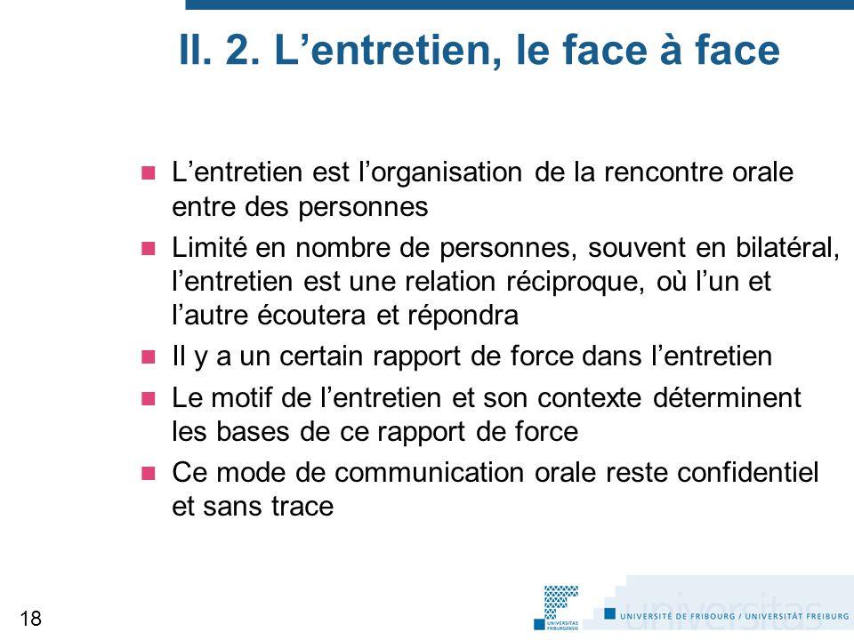 II. 2. L'entretien, le face à face L'entretien est l'organisation de la rencontre orale entre des personnes Limité en nombre de personnes, souvent en