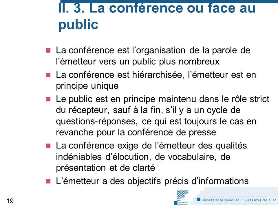 II. 3. La conférence ou face au public La conférence est l'organisation de la parole de l'émetteur vers un public plus nombreux La conférence est hiér