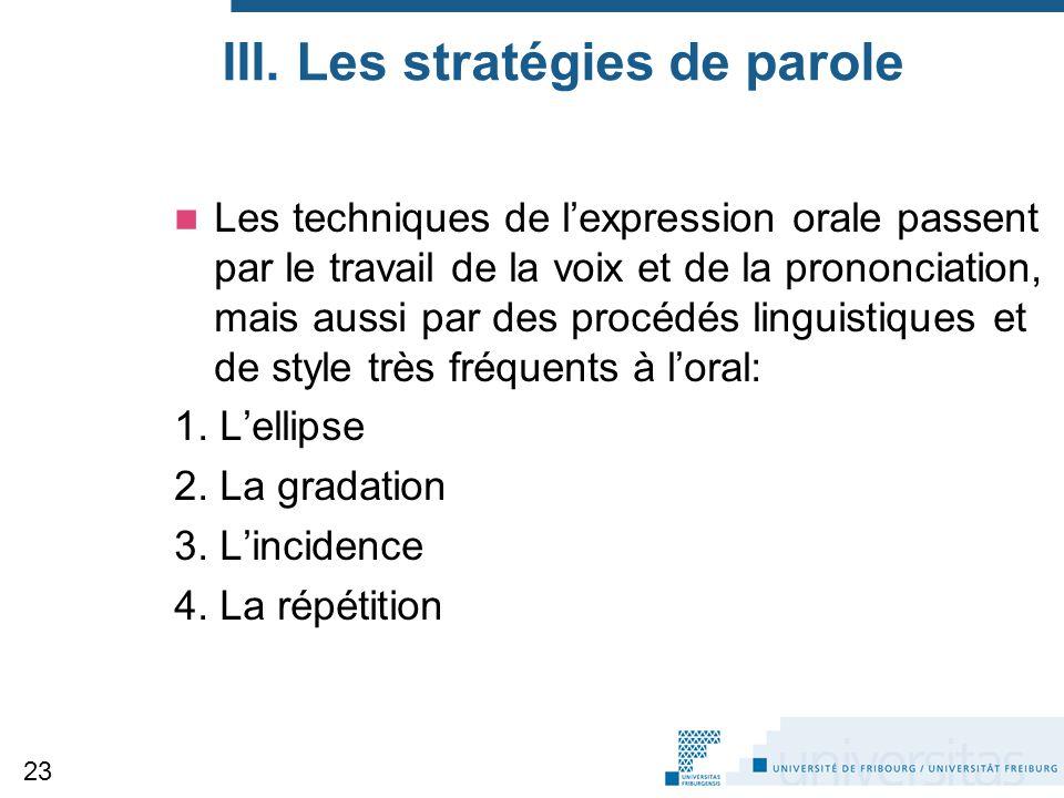 III. Les stratégies de parole Les techniques de l'expression orale passent par le travail de la voix et de la prononciation, mais aussi par des procéd