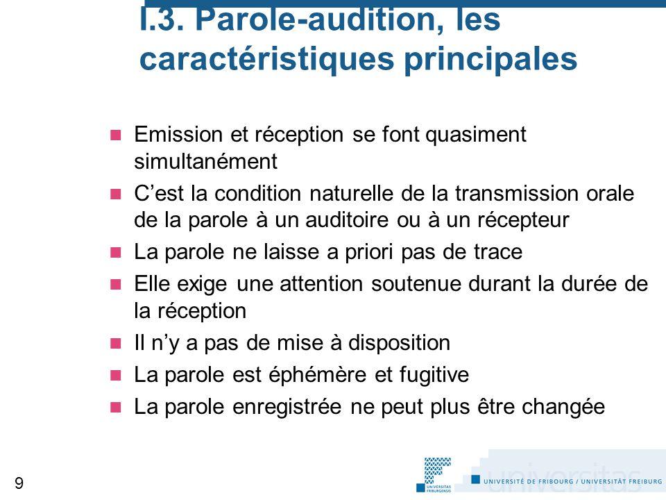 I.3. Parole-audition, les caractéristiques principales Emission et réception se font quasiment simultanément C'est la condition naturelle de la transm