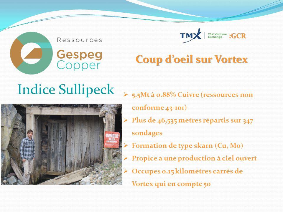 :GCR Indice Sullipeck  5.5Mt à 0.88% Cuivre (ressources non conforme 43-101)  Plus de 46,535 mètres répartis sur 347 sondages  Formation de type skarn (Cu, Mo)  Propice a une production à ciel ouvert  Occupes 0.15 kilomètres carrés de Vortex qui en compte 50