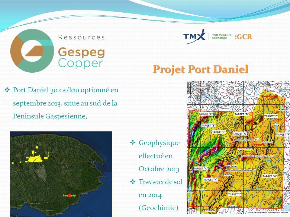 Projet Port Daniel  Port Daniel 30 ca/km optionné en septembre 2013, situé au sud de la Péninsule Gaspésienne, :GCR  Geophysique effectué en Octobre 2013  Travaux de sol en 2014 (Geochimie)