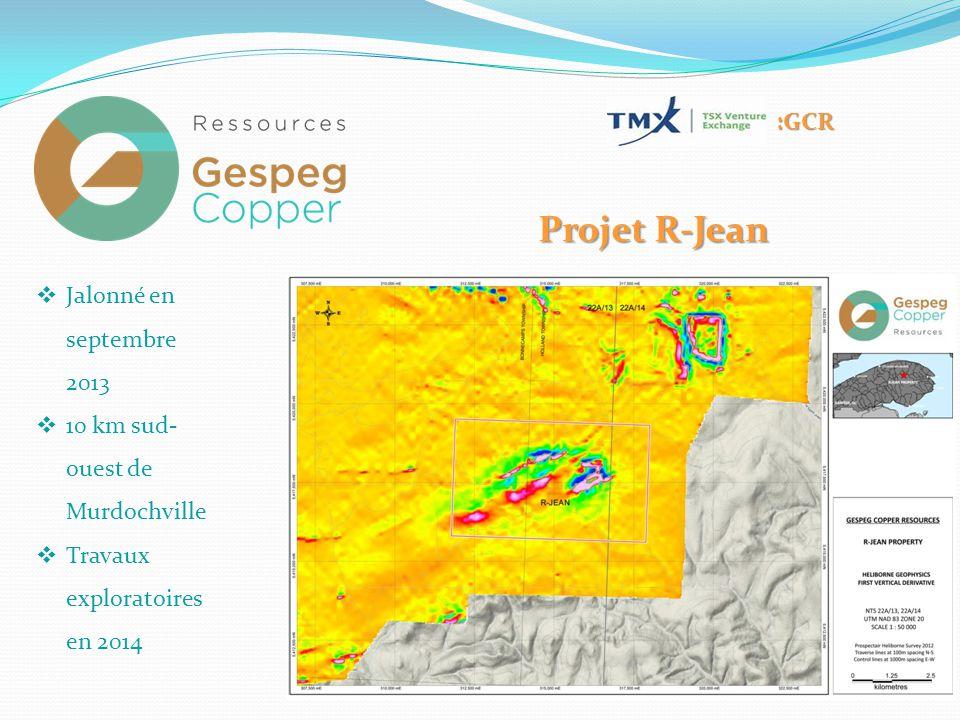 :GCR Projet R-Jean  Jalonné en septembre 2013  10 km sud- ouest de Murdochville  Travaux exploratoires en 2014