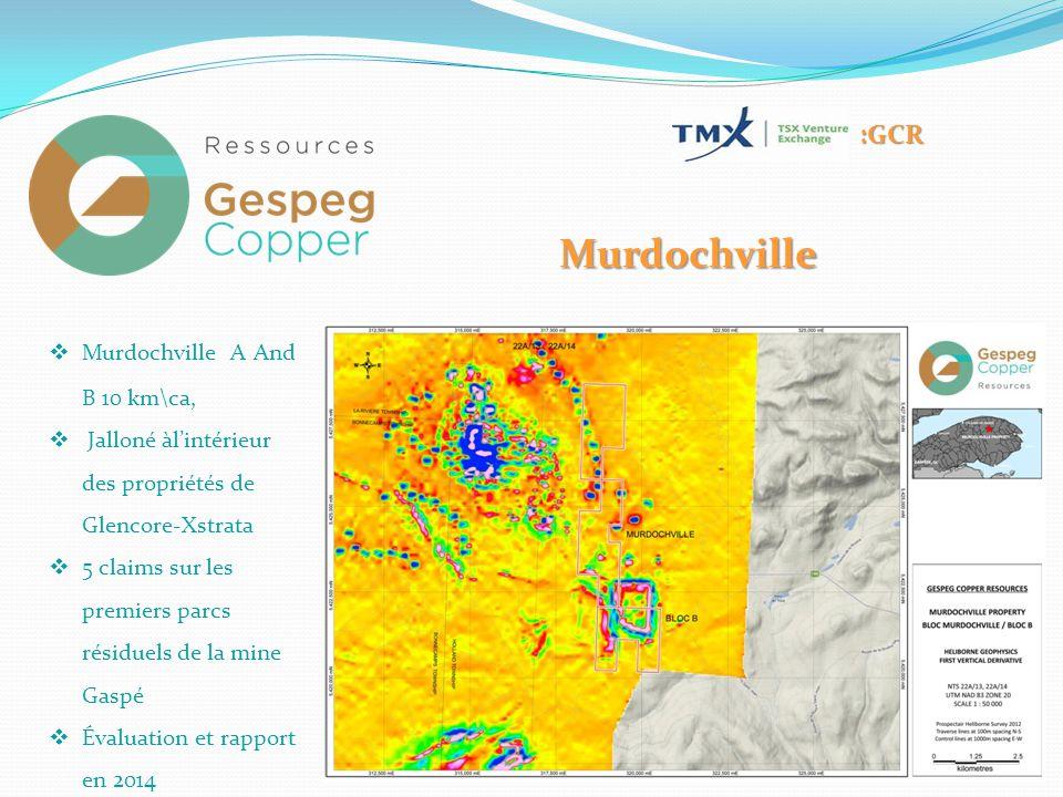 Murdochville  Murdochville A And B 10 km\ca,  Jalloné àl'intérieur des propriétés de Glencore-Xstrata  5 claims sur les premiers parcs résiduels de la mine Gaspé  Évaluation et rapport en 2014 :GCR