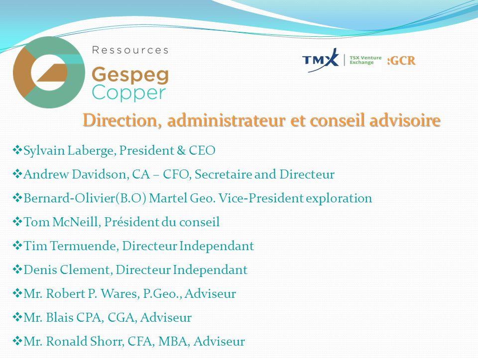 Direction, administrateur et conseil advisoire  Sylvain Laberge, President & CEO  Andrew Davidson, CA – CFO, Secretaire and Directeur  Bernard-Olivier(B.O) Martel Geo.