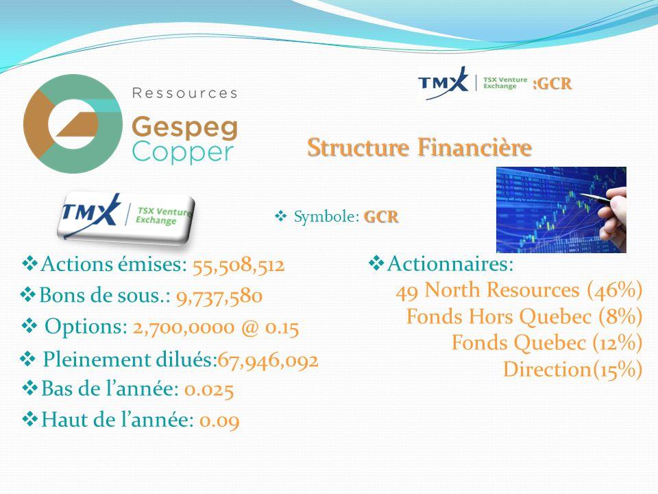 Structure Financière GCR  Symbole: GCR  Actions émises: 55,508,512  Bons de sous.: 9,737,580  Pleinement dilués:67,946,092  Bas de l'année: 0.025  Haut de l'année: 0.09 :GCR  Options: 2,700,0000 @ 0.15  Actionnaires: 49 North Resources (46%) Fonds Hors Quebec (8%) Fonds Quebec (12%) Direction(15%)