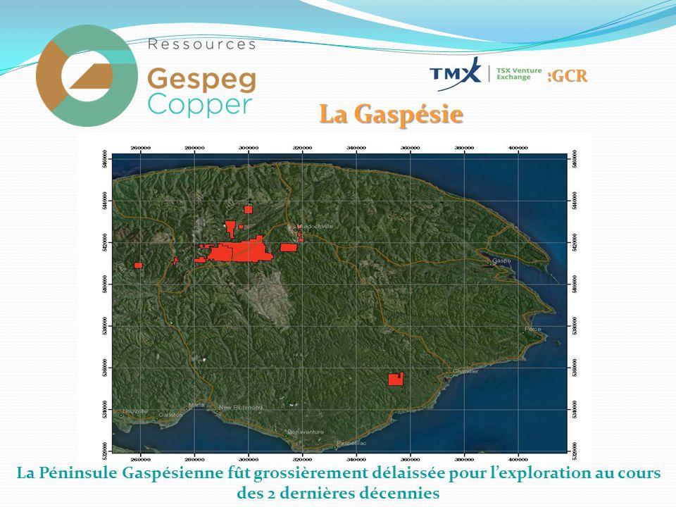 La Péninsule Gaspésienne fût grossièrement délaissée pour l'exploration au cours des 2 dernières décennies :GCR La Gaspésie