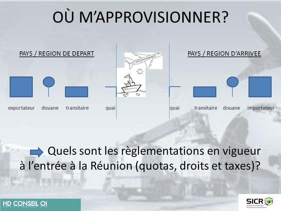 OÙ M'APPROVISIONNER? exportateurtransitaire importateurdouane quai PAYS / REGION DE DEPARTPAYS / REGION D'ARRIVEE Quels sont les règlementations en vi