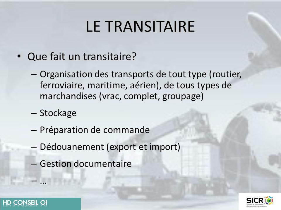LE TRANSITAIRE Que fait un transitaire? – Organisation des transports de tout type (routier, ferroviaire, maritime, aérien), de tous types de marchand