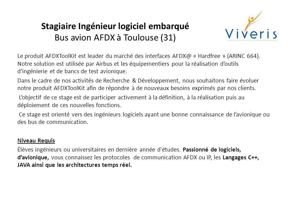 Stagiaire Ingénieur logiciel application mobile Applications de communication à Toulouse (31) Viveris Technologies étudie des solutions de communication tout IP à base de terminaux mobiles mettant en œuvre différents liens de télécommunication (terrestres et satellites).