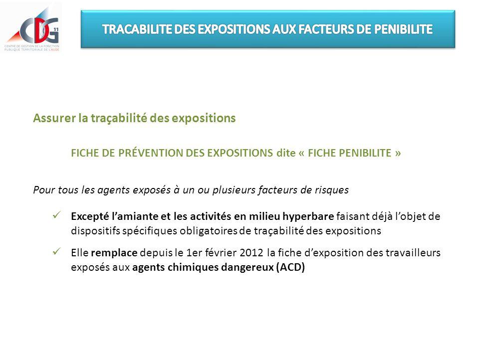 Assurer la traçabilité des expositions FICHE DE PRÉVENTION DES EXPOSITIONS dite « FICHE PENIBILITE » Pour tous les agents exposés à un ou plusieurs fa