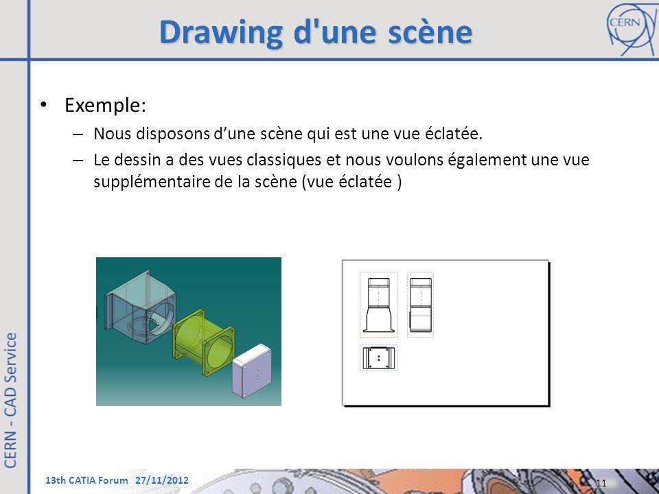 13th CATIA Forum 27/11/2012 Drawing d'une scène Exemple: – Nous disposons d'une scène qui est une vue éclatée. – Le dessin a des vues classiques et no