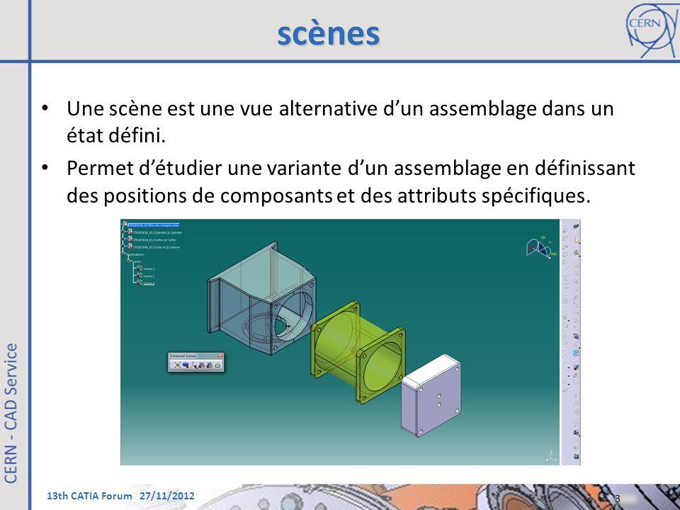 13th CATIA Forum 27/11/2012 scènes Une scène est une vue alternative d'un assemblage dans un état défini. Permet d'étudier une variante d'un assemblag