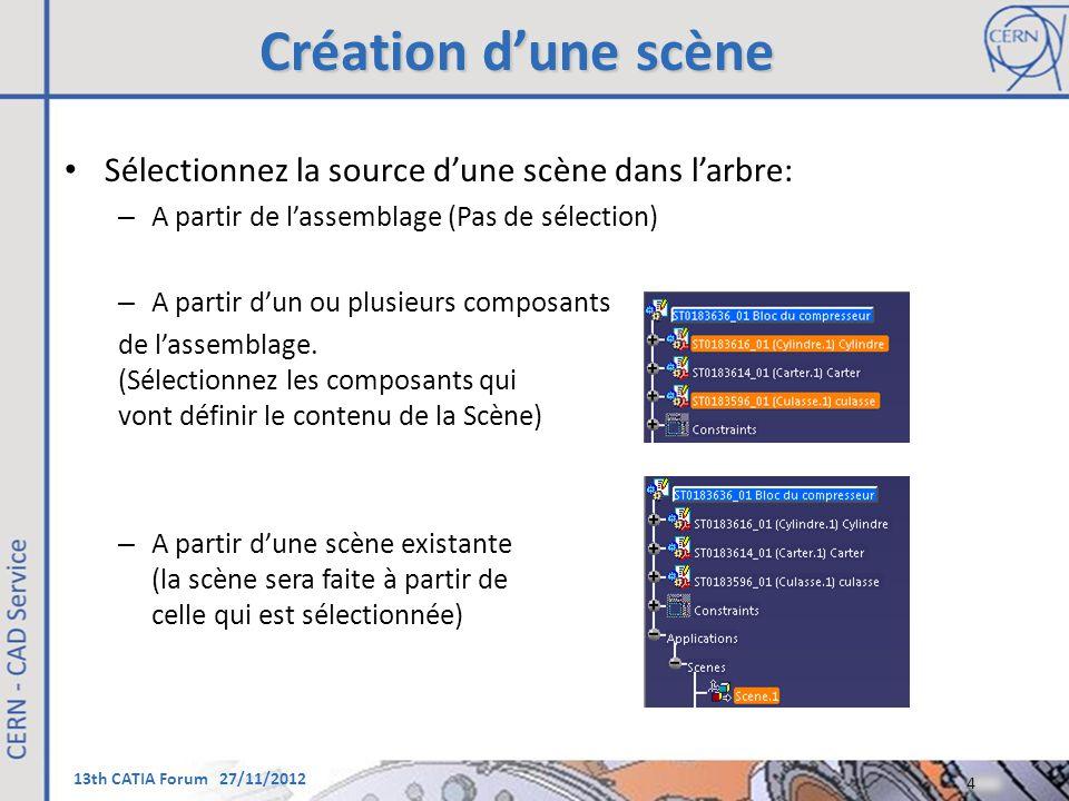 13th CATIA Forum 27/11/2012 Création d'une scène Sélectionnez la source d'une scène dans l'arbre: – A partir de l'assemblage (Pas de sélection) – A pa