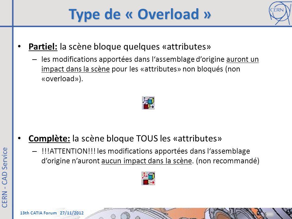 13th CATIA Forum 27/11/2012 Type de « Overload » Partiel: la scène bloque quelques «attributes» – les modifications apportées dans l'assemblage d'orig