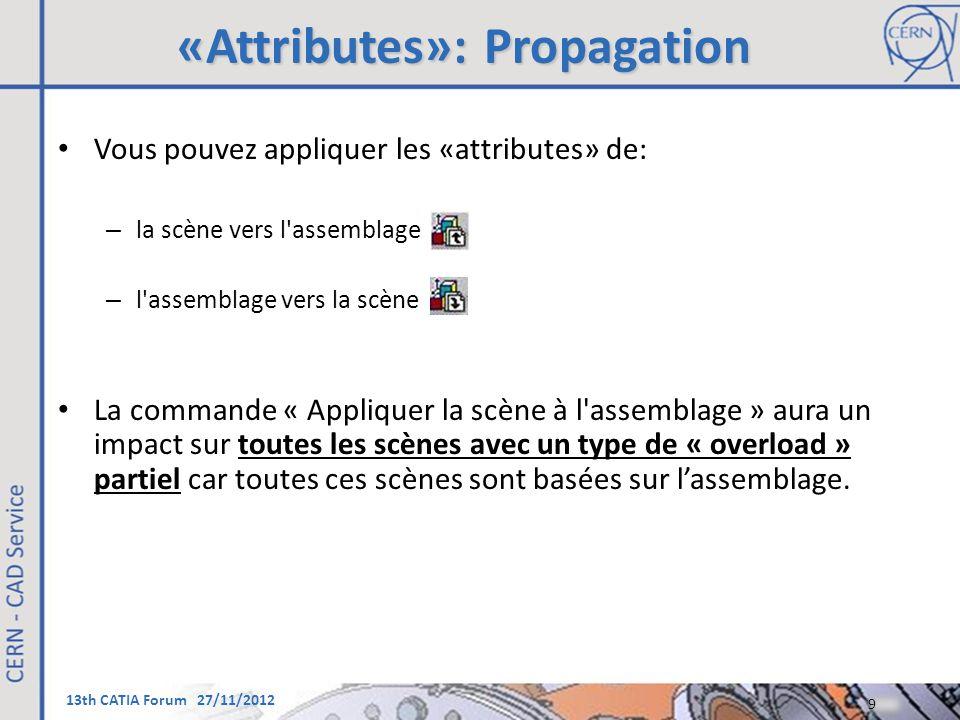 13th CATIA Forum 27/11/2012 «Attributes»: Propagation Vous pouvez appliquer les «attributes» de: – la scène vers l'assemblage – l'assemblage vers la s