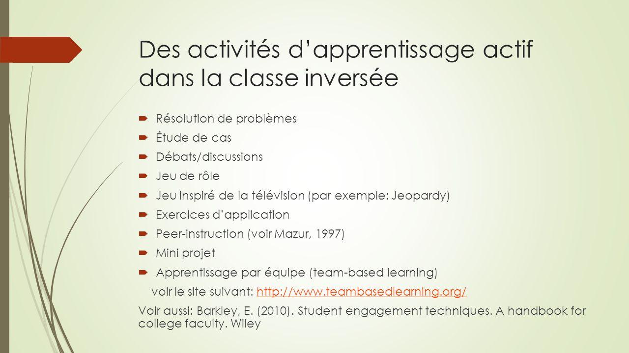Des activités d'apprentissage actif dans la classe inversée  Résolution de problèmes  Étude de cas  Débats/discussions  Jeu de rôle  Jeu inspiré