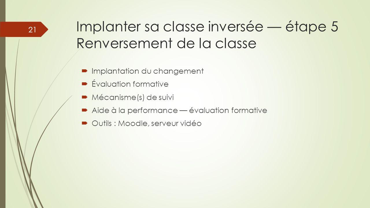 Implanter sa classe inversée — étape 5 Renversement de la classe  Implantation du changement  Évaluation formative  Mécanisme(s) de suivi  Aide à