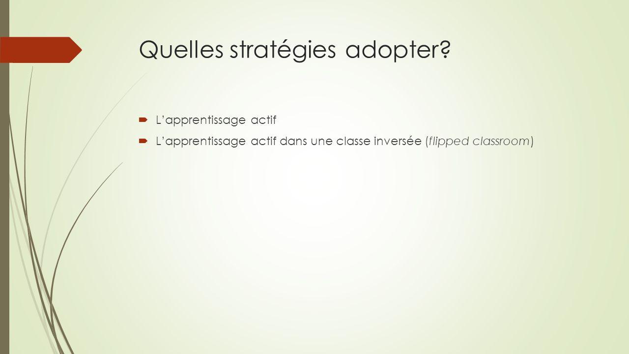 Quelles stratégies adopter?  L'apprentissage actif  L'apprentissage actif dans une classe inversée (flipped classroom)