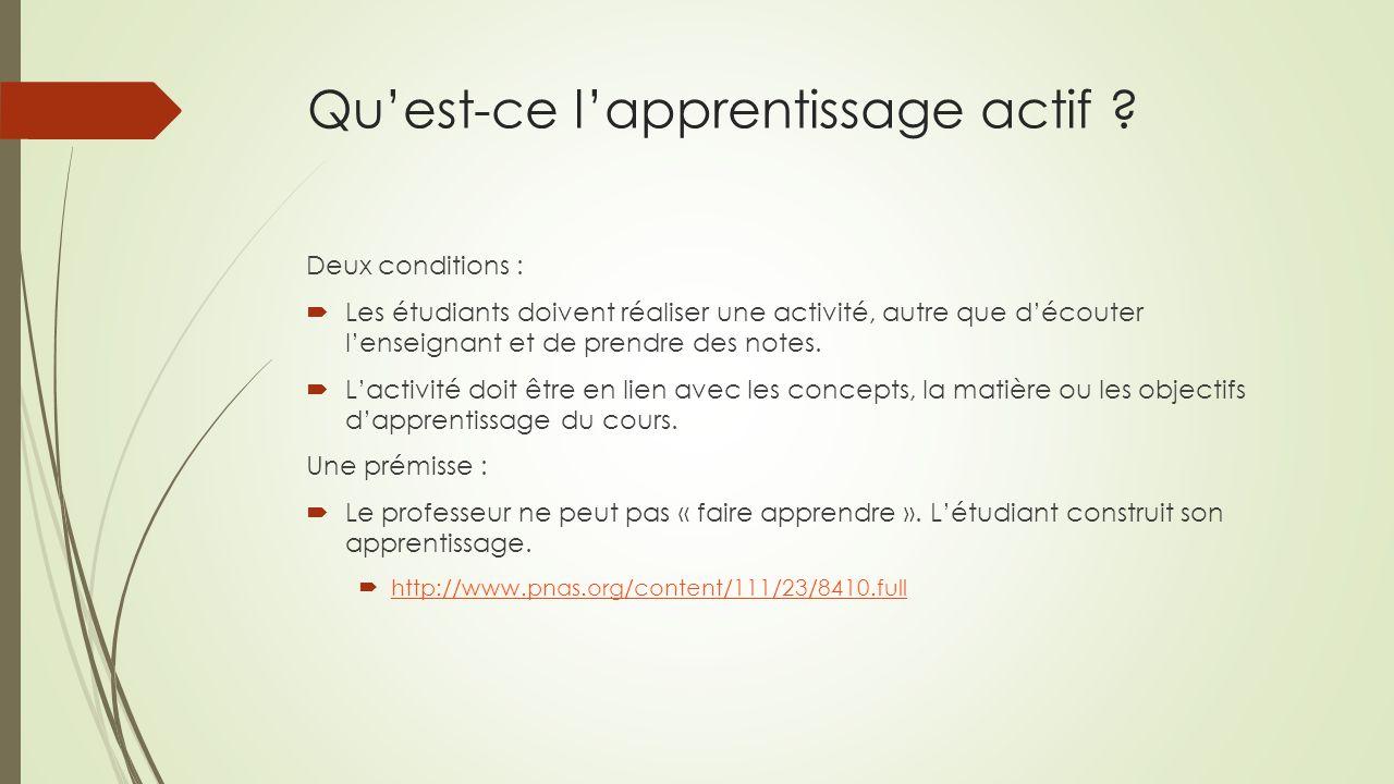 Qu'est-ce l'apprentissage actif ? Deux conditions :  Les étudiants doivent réaliser une activité, autre que d'écouter l'enseignant et de prendre des