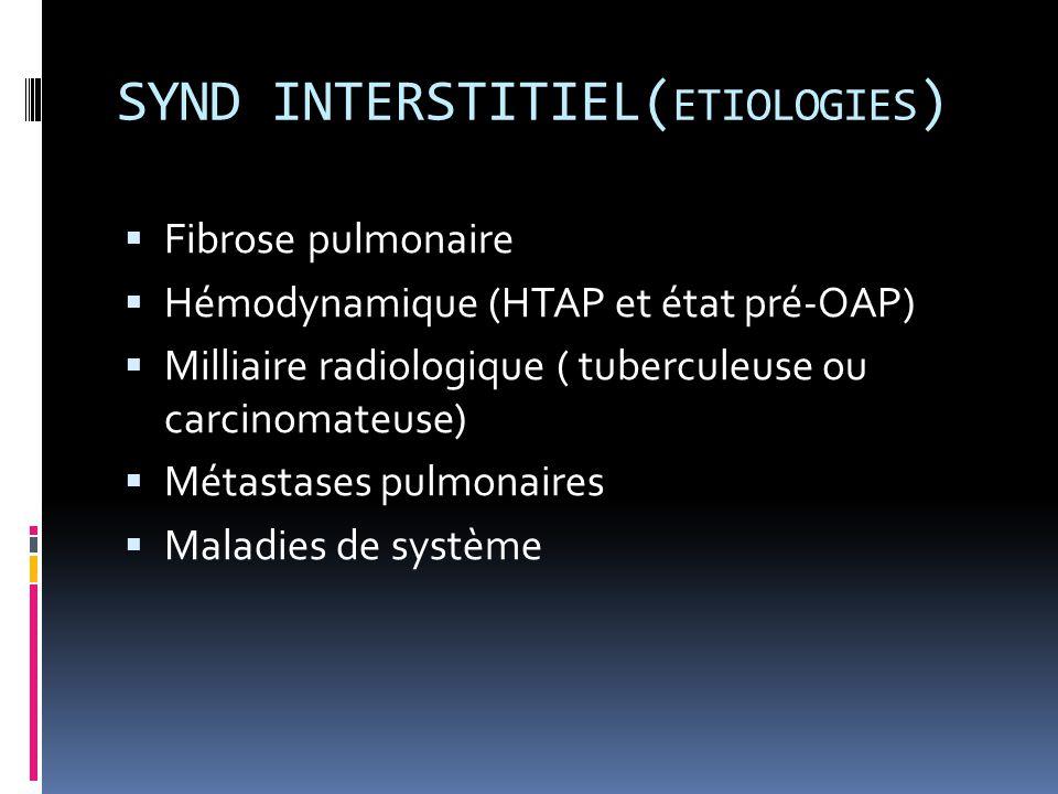 SYND INTERSTITIEL( ETIOLOGIES )  Fibrose pulmonaire  Hémodynamique (HTAP et état pré-OAP)  Milliaire radiologique ( tuberculeuse ou carcinomateuse)