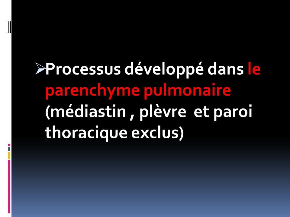  Processus développé dans le parenchyme pulmonaire (médiastin, plèvre et paroi thoracique exclus)
