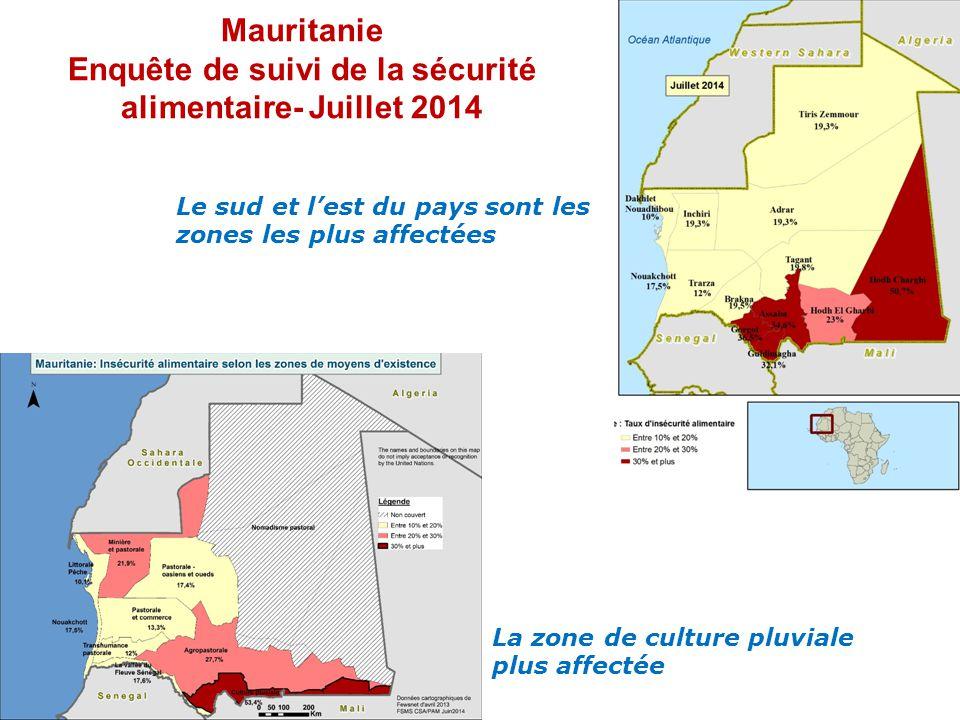 Mauritanie Enquête de suivi de la sécurité alimentaire- Juillet 2014 Le sud et l'est du pays sont les zones les plus affectées La zone de culture pluviale plus affectée