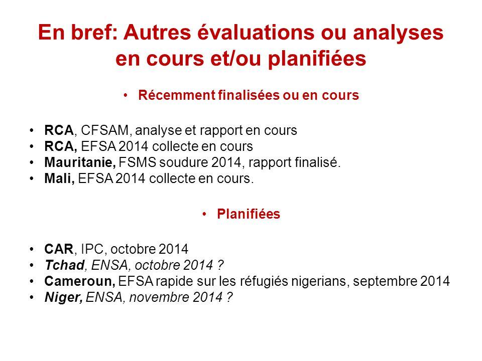 En bref: Autres évaluations ou analyses en cours et/ou planifiées Récemment finalisées ou en cours RCA, CFSAM, analyse et rapport en cours RCA, EFSA 2014 collecte en cours Mauritanie, FSMS soudure 2014, rapport finalisé.