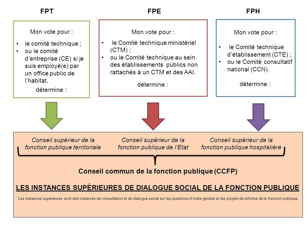 Conseil commun de la fonction publique (CCFP) LES INSTANCES SUPÉRIEURES DE DIALOGUE SOCIAL DE LA FONCTION PUBLIQUE Les instances supérieures sont des instances de consultation et de dialogue social sur les questions d'ordre général et les projets de réforme de la fonction publique.