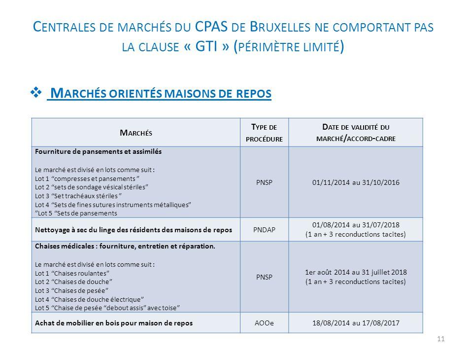 C ENTRALES DE MARCHÉS DU CPAS DE B RUXELLES NE COMPORTANT PAS LA CLAUSE « GTI » ( PÉRIMÈTRE LIMITÉ )  M ARCHÉS ORIENTÉS MAISONS DE REPOS M ARCHÉS T Y