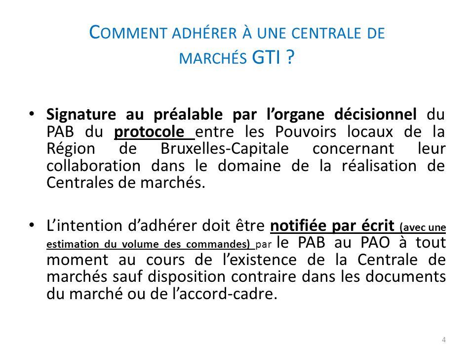 C OMMENT ADHÉRER À UNE CENTRALE DE MARCHÉS GTI ? Signature au préalable par l'organe décisionnel du PAB du protocole entre les Pouvoirs locaux de la R