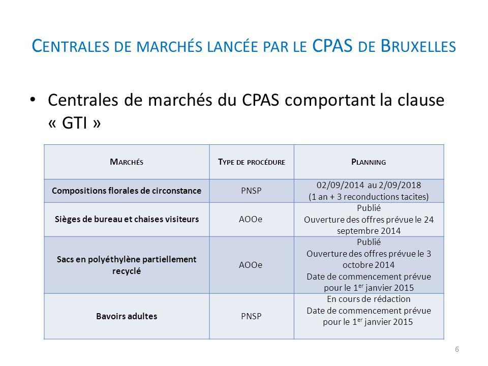 Nouveaux marchés du CPAS de Bruxelles passés en centrales et accessibles aux pouvoirs locaux Bruxellois Merci pour votre attention Avez- vous des questions .