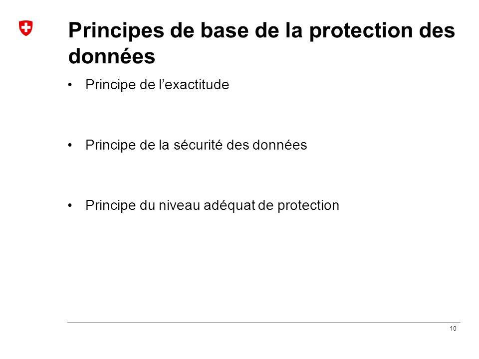 10 Principes de base de la protection des données Principe de l'exactitude Principe de la sécurité des données Principe du niveau adéquat de protectio