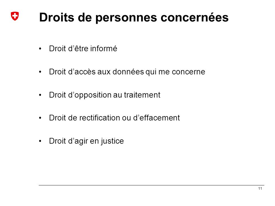 11 Droits de personnes concernées Droit d'être informé Droit d'accès aux données qui me concerne Droit d'opposition au traitement Droit de rectificati