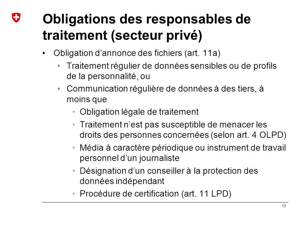 13 Obligations des responsables de traitement (secteur privé) Obligation d'annonce des fichiers (art. 11a) Traitement régulier de données sensibles ou