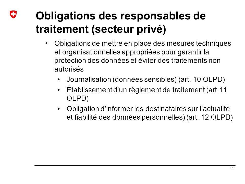 14 Obligations des responsables de traitement (secteur privé) Obligations de mettre en place des mesures techniques et organisationnelles appropriées