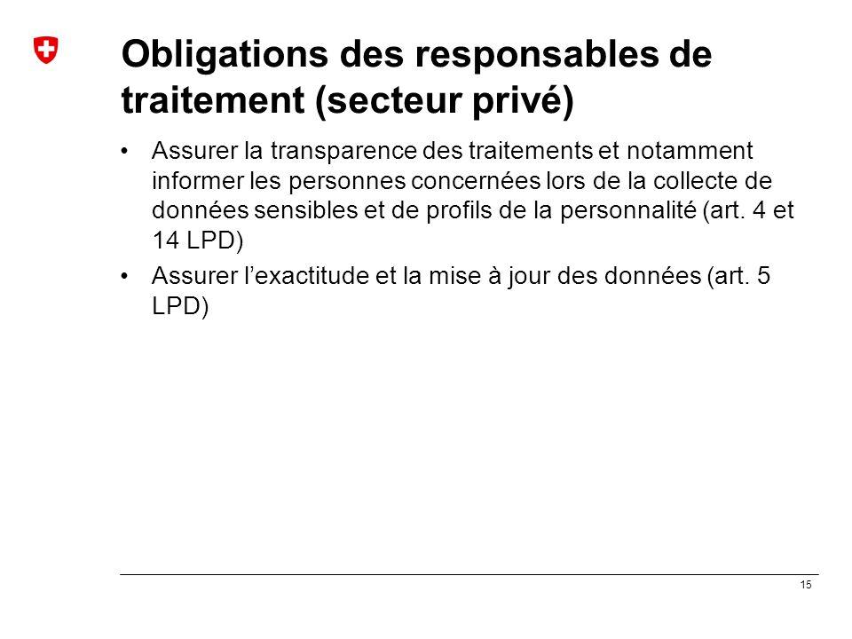 15 Obligations des responsables de traitement (secteur privé) Assurer la transparence des traitements et notamment informer les personnes concernées l