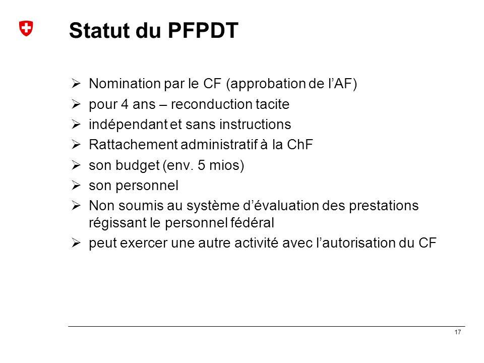 17 Statut du PFPDT  Nomination par le CF (approbation de l'AF)  pour 4 ans – reconduction tacite  indépendant et sans instructions  Rattachement a