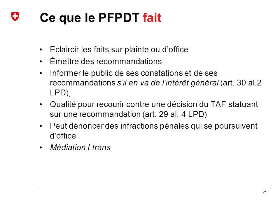 21 Ce que le PFPDT fait Eclaircir les faits sur plainte ou d'office Émettre des recommandations Informer le public de ses constations et de ses recomm