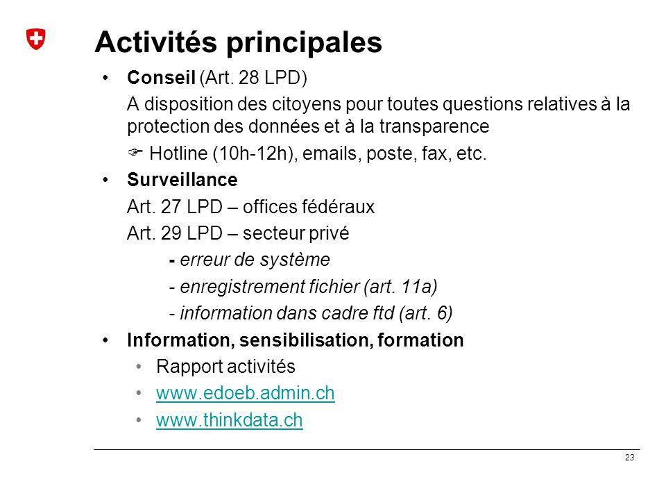 23 Activités principales Conseil (Art. 28 LPD) A disposition des citoyens pour toutes questions relatives à la protection des données et à la transpar