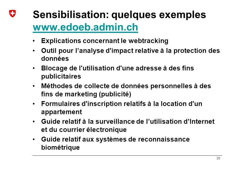 25 Sensibilisation: quelques exemples www.edoeb.admin.ch www.edoeb.admin.ch Explications concernant le webtracking Outil pour l'analyse d'impact relat