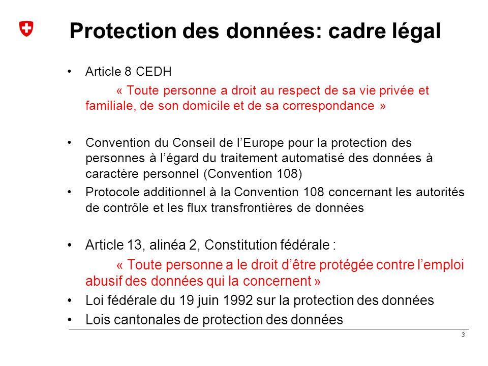 3 Protection des données: cadre légal Article 8 CEDH « Toute personne a droit au respect de sa vie privée et familiale, de son domicile et de sa corre