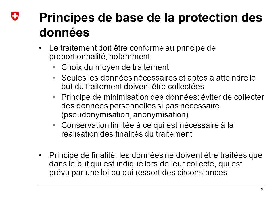 9 Principes de base de la protection des données Le traitement doit être conforme au principe de proportionnalité, notamment: Choix du moyen de traite