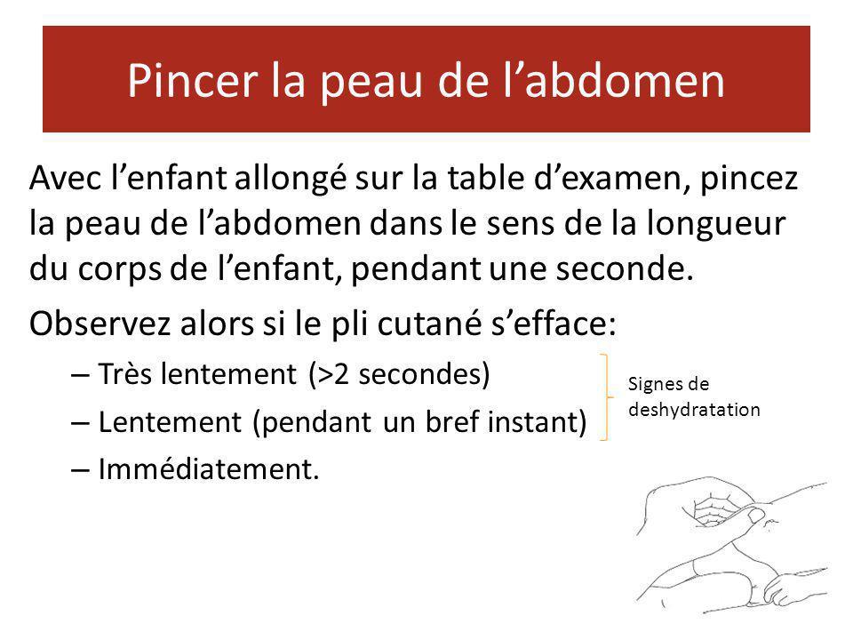 Pincer la peau de l'abdomen Avec l'enfant allongé sur la table d'examen, pincez la peau de l'abdomen dans le sens de la longueur du corps de l'enfant,
