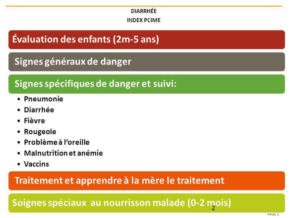 DIARRHÉE INDEX PCIME PAGE 2 Évaluation des enfants (2m-5 ans) Signes généraux de danger Signes spécifiques de danger et suivi: Pneumonie Diarrhée Fièv