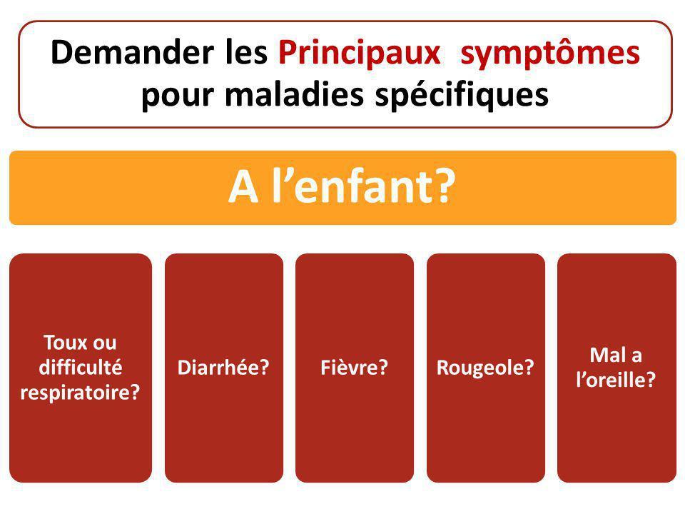 Demander les Principaux symptômes pour maladies spécifiques A l'enfant? Toux ou difficulté respiratoire? Diarrhée?Fièvre?Rougeole? Mal a l'oreille?