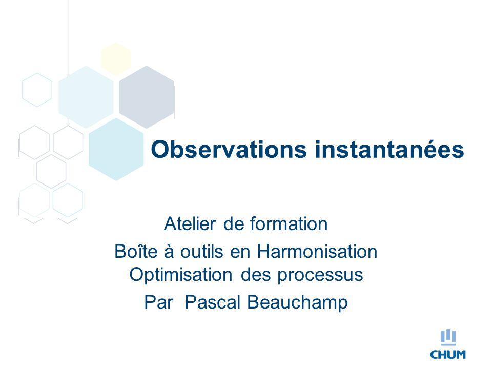 Observations instantanées Atelier de formation Boîte à outils en Harmonisation Optimisation des processus Par Pascal Beauchamp