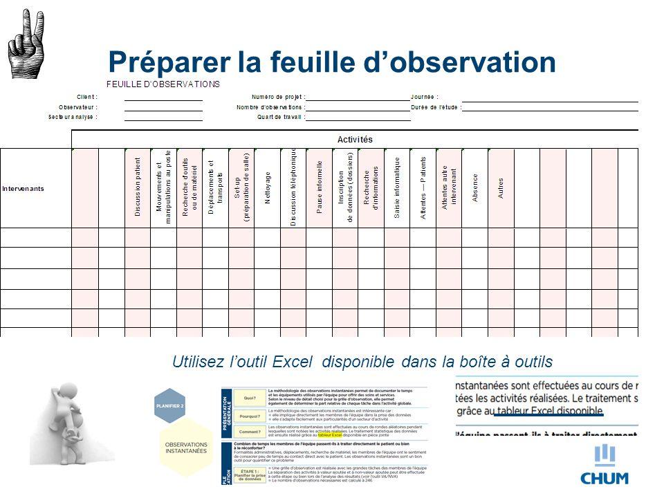 Préparer la feuille d'observation Utilisez l'outil Excel disponible dans la boîte à outils