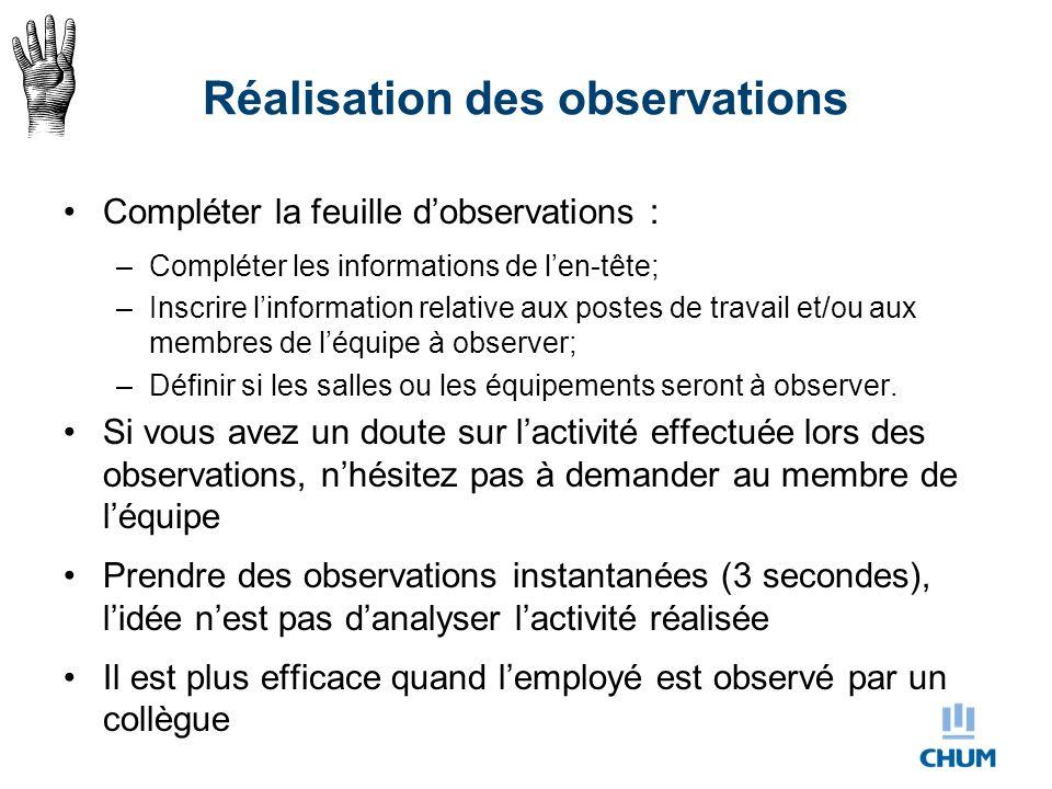 Réalisation des observations Compléter la feuille d'observations : –Compléter les informations de l'en-tête; –Inscrire l'information relative aux post