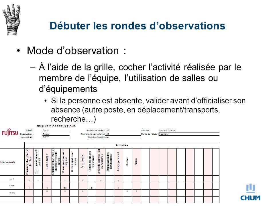 Débuter les rondes d'observations Mode d'observation : –À l'aide de la grille, cocher l'activité réalisée par le membre de l'équipe, l'utilisation de